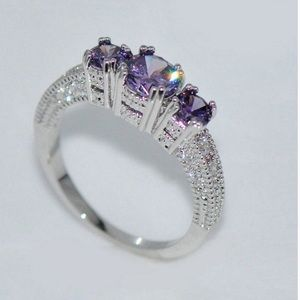 Jewelry - 14K Amethyst 925 sterling engagement ring